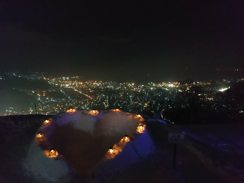 小樽雪あかりの路天狗山会場〜夜景と雪あかりのコラボレーション